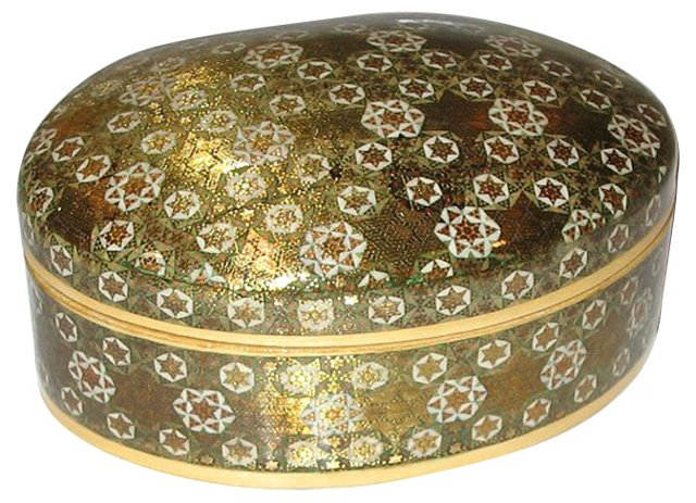 Oval Lidded Inlayed Box