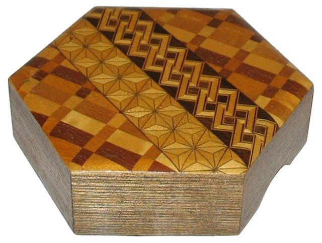 Octagonal Wood Veneer Lidded Box