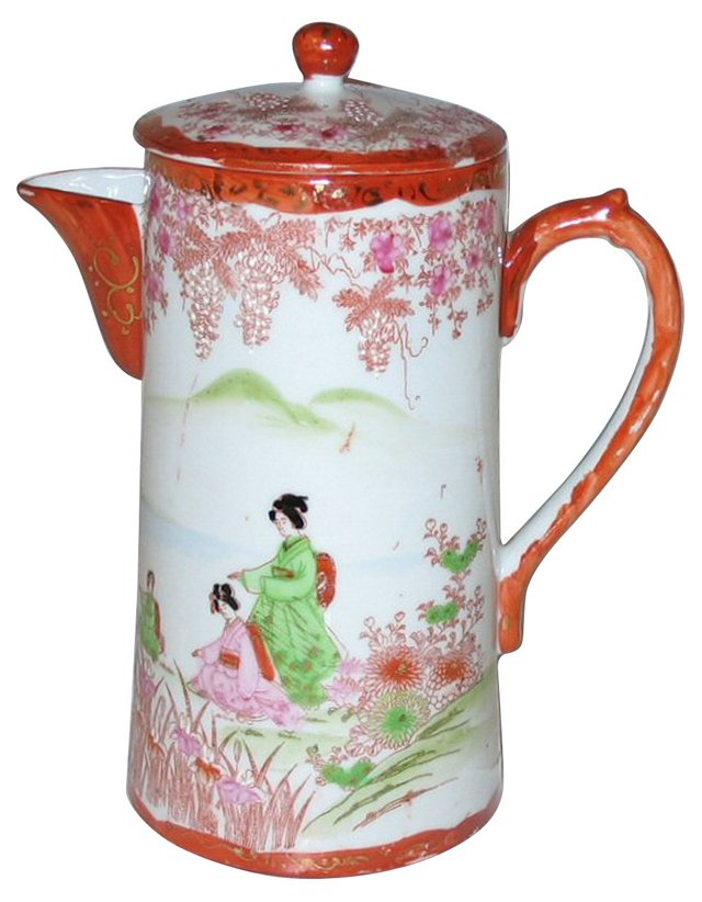 Hand-Painted Japanese Coffeepot