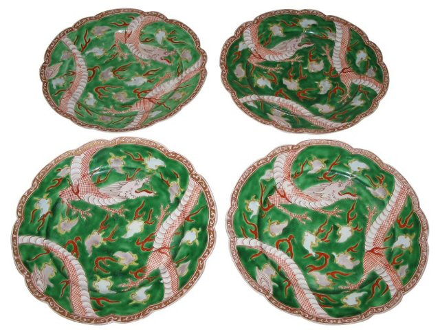 Hand-Painted Dragon Plates, S/4