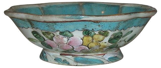 Hand-Painted Scalloped-Rim Bowl