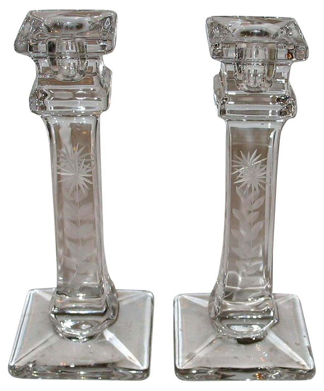 Etched Glass Candleholders, Pair