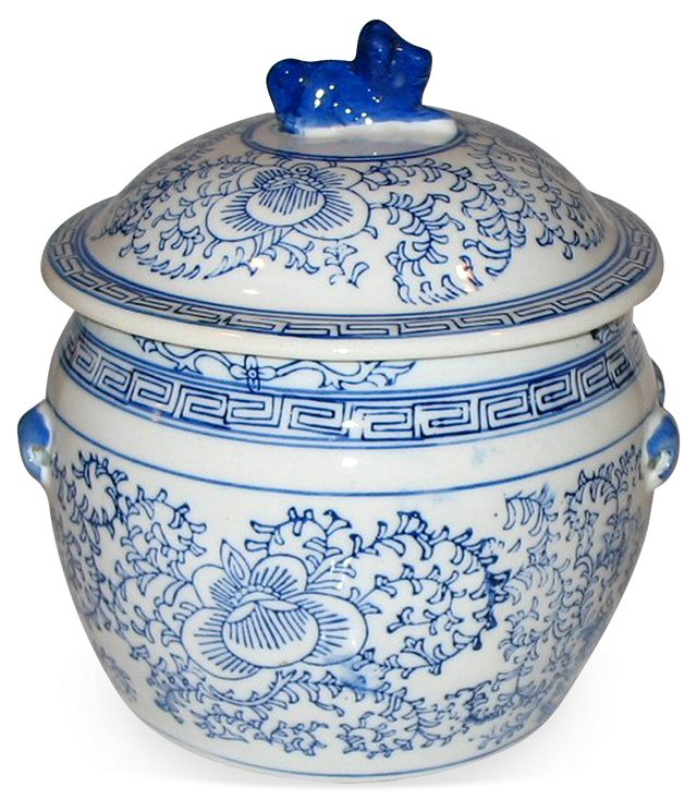 Blue & White Lidded Ceramic Pot