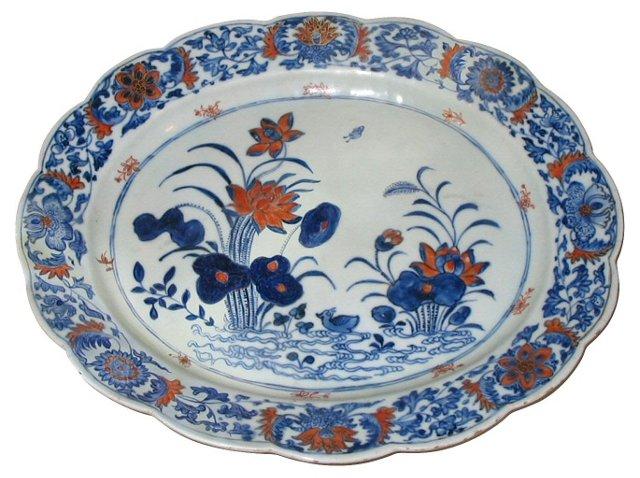 Oval Porcelain Platter w/ Lotus Design