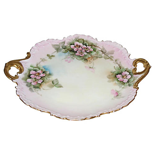 Hand-Painted Cake Plate w/ Gold Handles