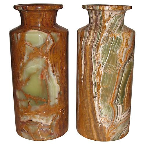 Tall Onyx Vases, Pair