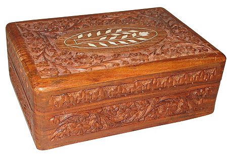 Carved Wood & Bone Box