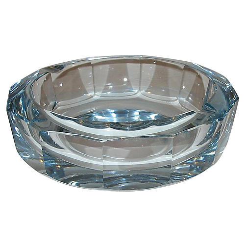 Signed Blue Crystal Ashtray