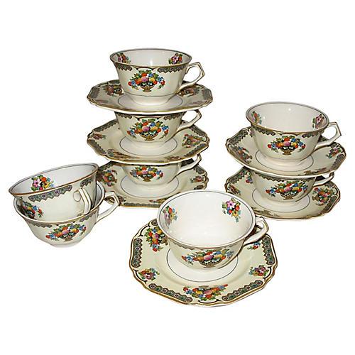 Ironstone Cups & Saucers, 14-Pcs