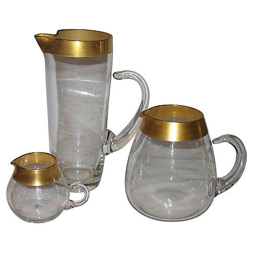 Dorothy C. Thorpe Glass Pitchers, 3 Pcs