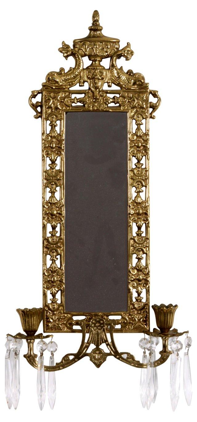 Wall Mirror & Brass Candleholders