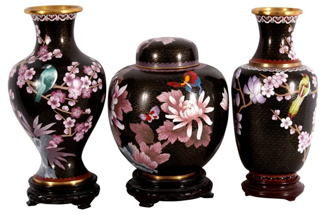 Cloisonné Vases & Jar w/ Flowers, S/3