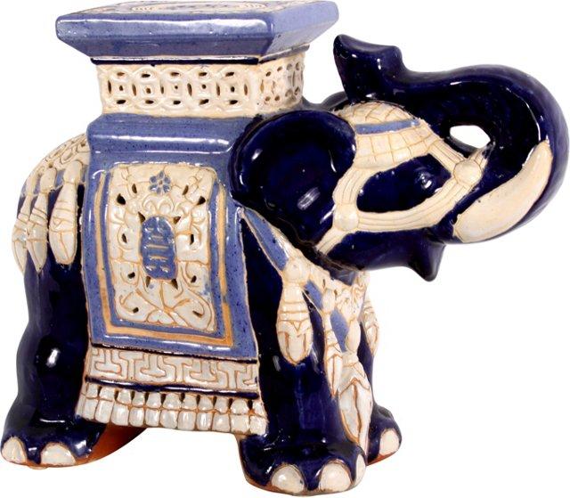 Blue & White Elephant Garden Seat
