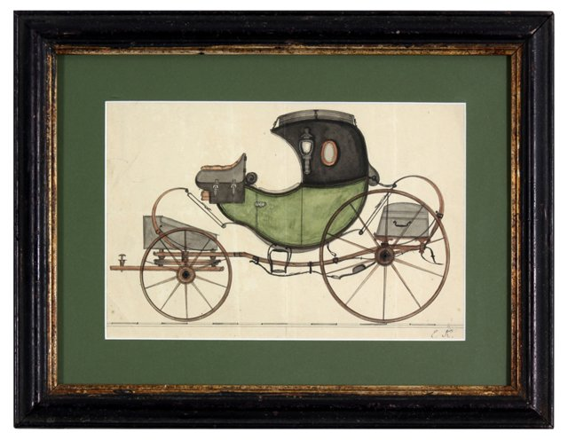 19th-C. Carriage in Watercolor