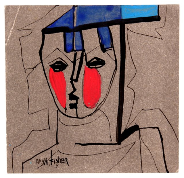 Abstract Figure in Blue & Red
