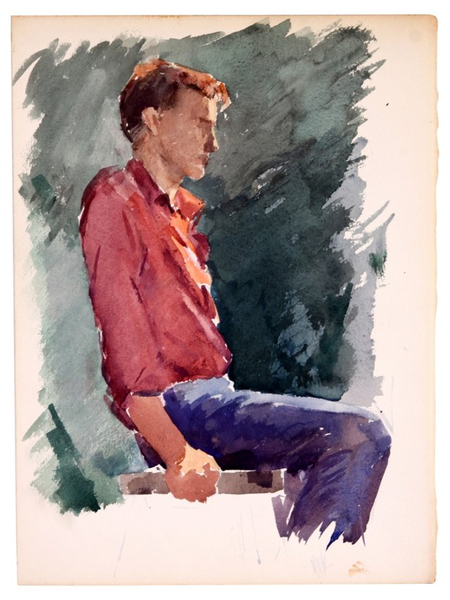 Watercolor Study of a Man