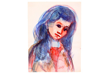Young Woman in Blue & Red, C.1960