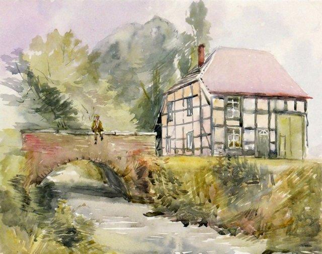 Cottage &  Bridge Watercolor, 1910
