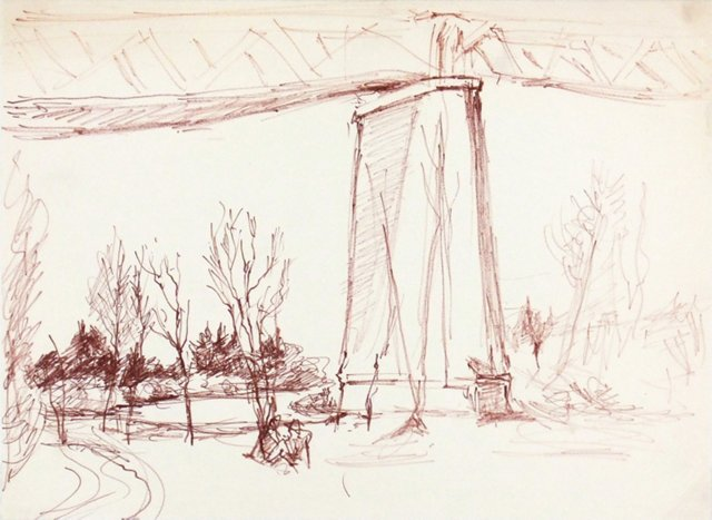 XD Bridge Drawing, C. 1960