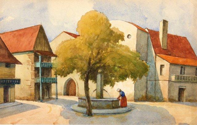 Shaded Fountain, C. 1900