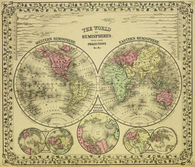 The World in Hemispheres, 1870