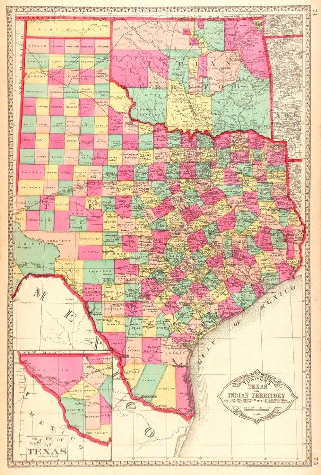 Texas & Indian Territory,    C. 1880