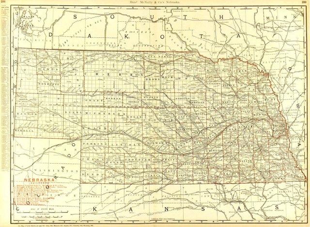Nebraska County & Railroads, 1895