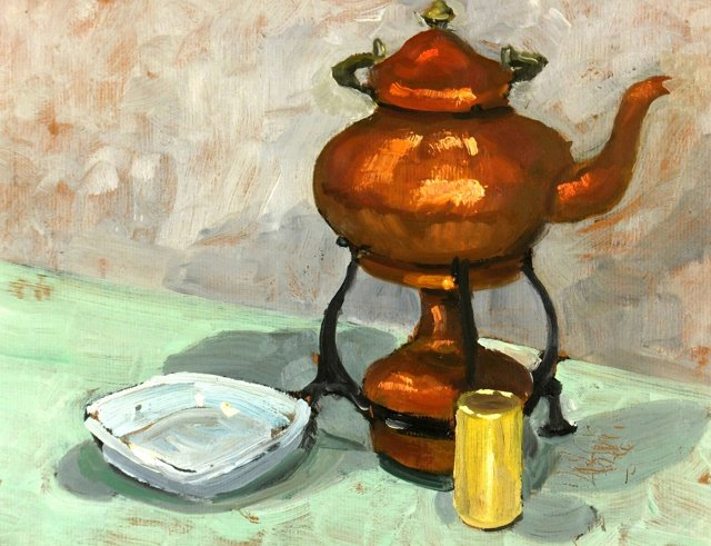 Copper Kettle & Candle, C. 1960
