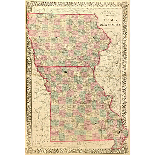 Vintage Iowa & Missouri Map, 1877