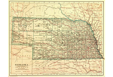 Vintage Nebraska Map,  1907