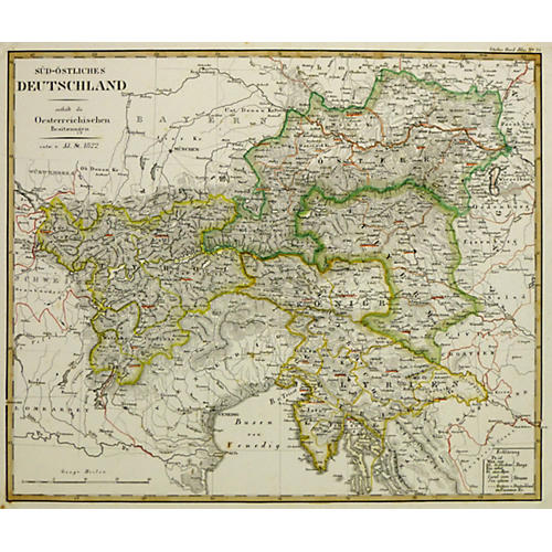 Central Europe Map, 1822