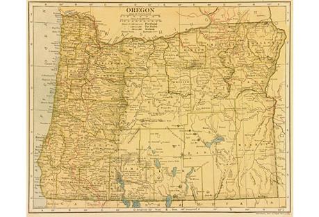 Vintage Oregon Map,   1906