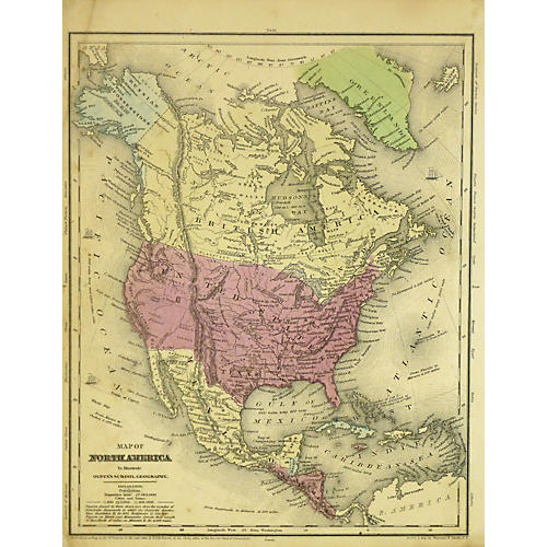 Map of North America, 1853