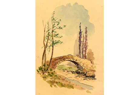 Watercolor Country Bridge, C.  1950