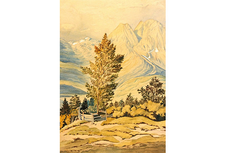 Mountain Landscape Watercolor, C.  1920