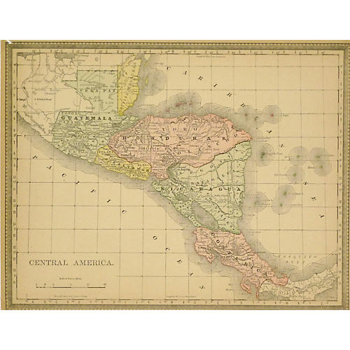 Central America Map, 1890