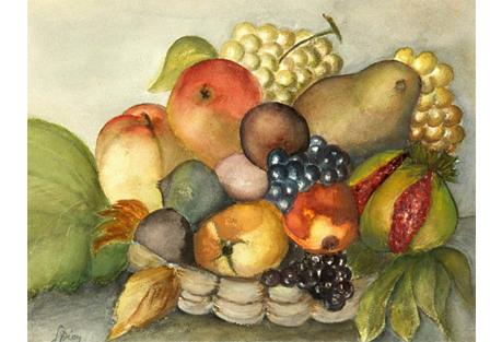 Fruit Still Life Watercolor, C. 1960