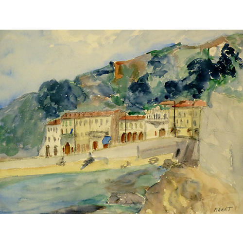 Riviera Watercolor, C. 1950