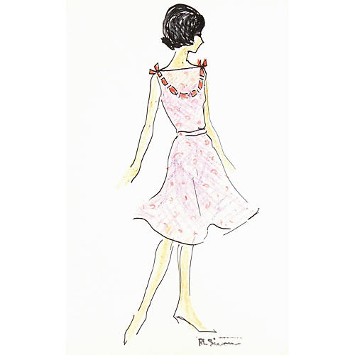 1960s Paris Dress Fashion Sketch