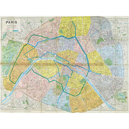 Map of Paris, C. 1970