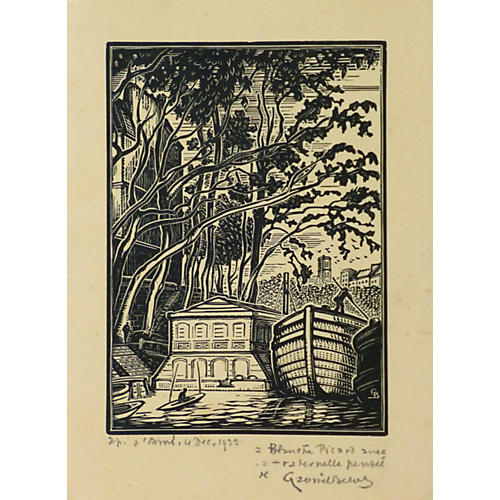 Shady Port Woodblock, 1932