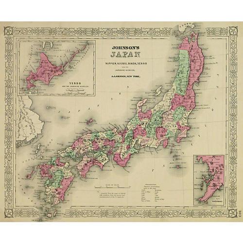 Antique Japan Map, 1868
