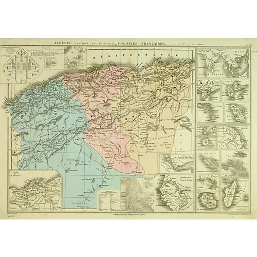 Algeria Map, 1882