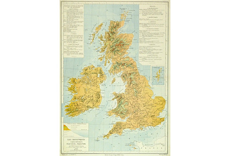 British Isles Map, 1884