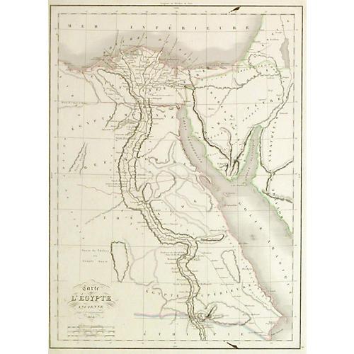 Antique Egypt Map, 1838
