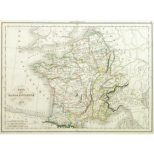 Map of France During Roman Empire, 1838