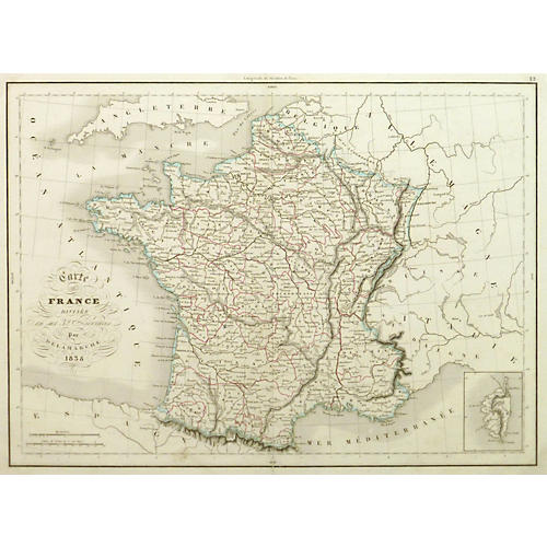French Provinces Map, 1838