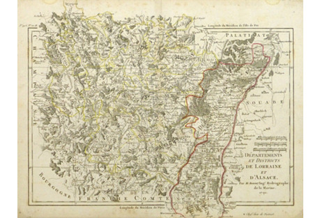Vintage Map of Alsace France, 1790