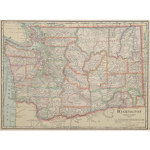 Map of Washington State, 1916