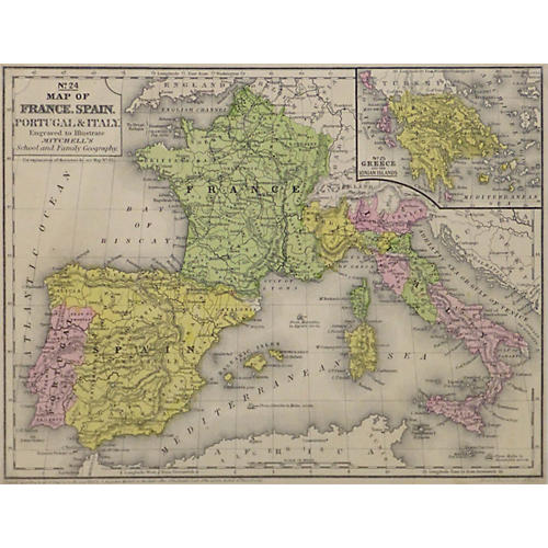 Vintage France, Spain & Italy Map, 1860